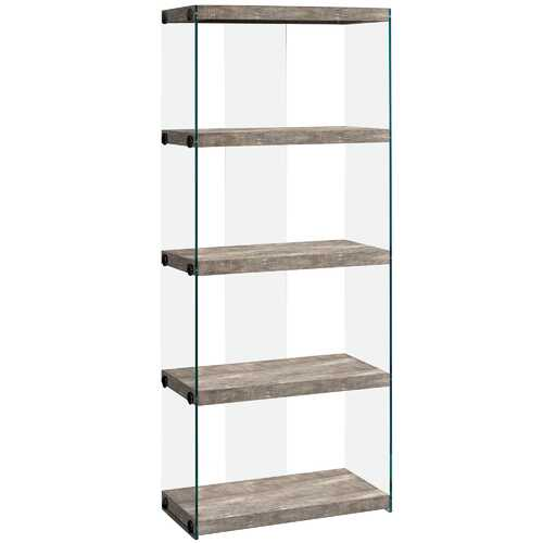 """12"""" x 24"""" x 58.75"""" Taupe, Particle Board, Tempered Glass - Bookcase"""
