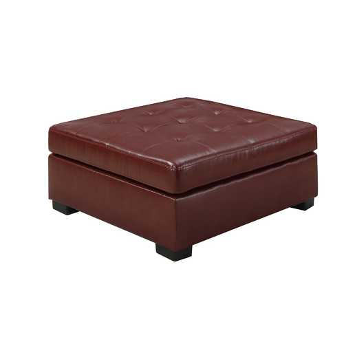 "20"" Red Leather Ottoman"