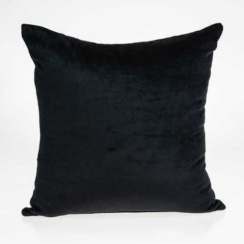 "18"" x 0.5"" x 18"" Transitional Black Solid Pillow Cover"