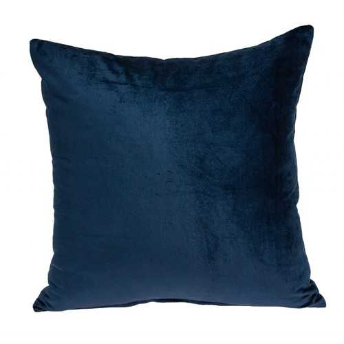 "18"" x 0.5"" x 18"" Transitional Navy Blue Solid Pillow Cover"