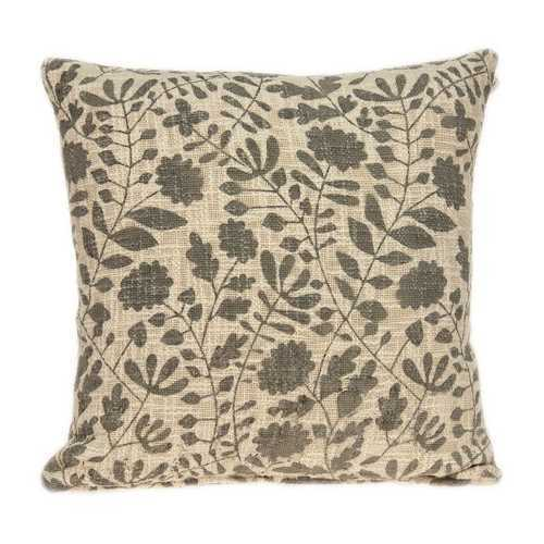 "18"" x 0.5"" x 18"" Transitional Beige Floral Print Pillow Cover"