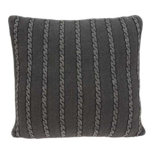 "18"" x 0.5"" x 18"" Transitional Charcoal Cotton Pillow Cover"