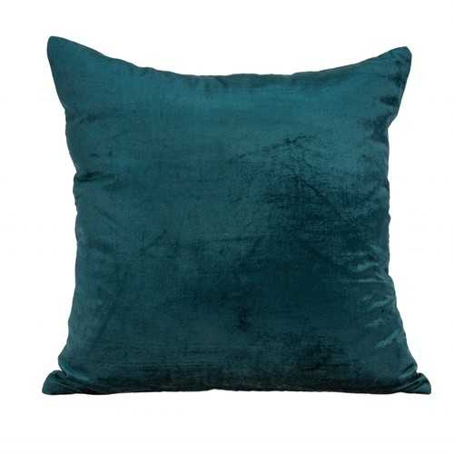 """18"""" x 7"""" x 18"""" Transitional Teal Solid Pillow Cover With Down Insert"""