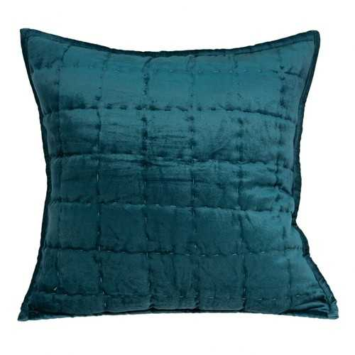 "20"" x 7"" x 20"" Transitional Teal Solid Quilted Pillow Cover With Down Insert"
