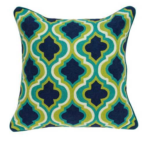 "20"" x 7"" x 20"" Handmade Traditional Teal And Blue Pillow Cover With Down Insert"