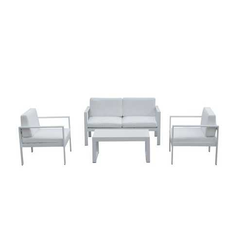 Outdoor Lounge Set In White (Set of 4)