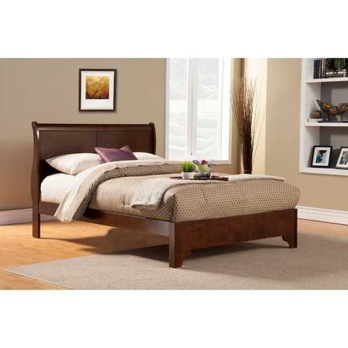 California King Low Footboard Sleigh Bed In Rubberwood, Brown
