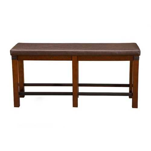 Wooden Counter Height Dining Bench With Nailhead Trim Design Brown