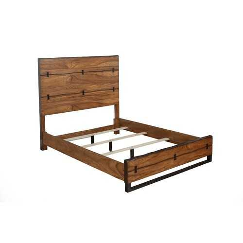 California King Panel Bed In Mahogany Wood Brown