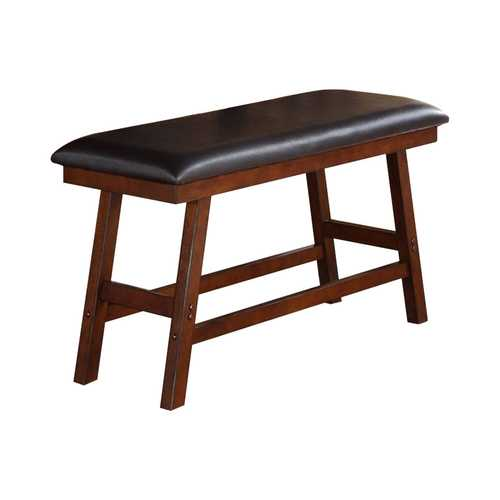 Rubber Wood Bench With Faux Leather Upholstery Small Brown