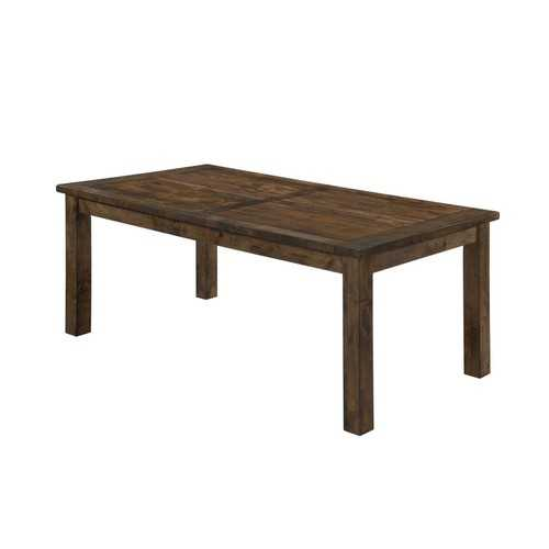 Wooden Rectangular Dining Table, Natural Wood Brown