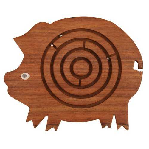 Pig Shape Labyrinth ball maze puzzle game In Wood, Brown