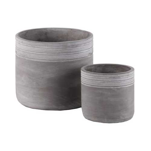 Cement Round Pot With Ribbed Band Rim Top, Set of 2, Gray