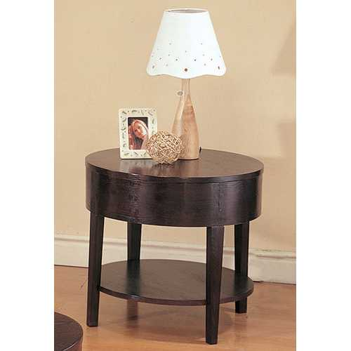 Wooden Round End Table With Bottom Shelf, Cappuccino Brown