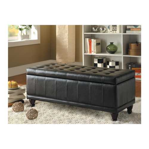 BiCast Vinyl LiftUp Storage Bench With a Tufted Seat, Dark Brown