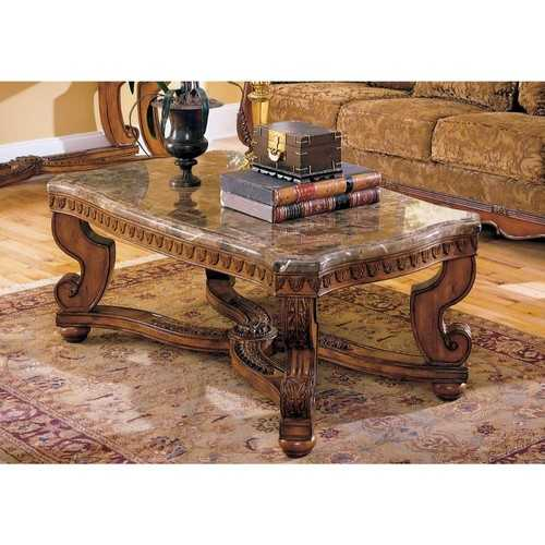 Wood Cocktail Table With Marble Tabletop, Brown