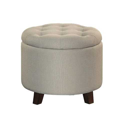 Button Tufted Wooden Round Storage Ottoman Upholstered In Fabric, Beige & Brown