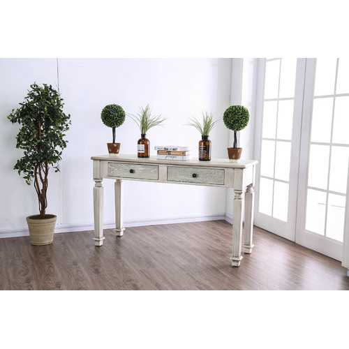 Wooden Sofa Table with Carved Turned Legs, Antique White