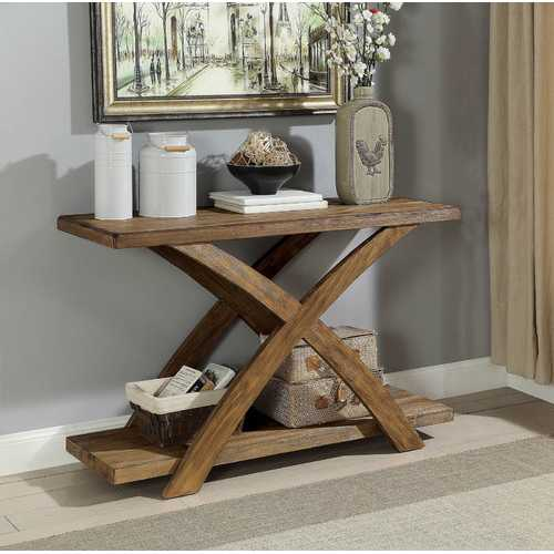 Wooden Sofa Table with Angled XShaped Base, Antique Light Oak Brown