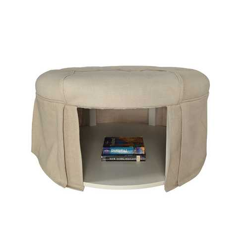 Button Tufted Fabric Upholstered Ottoman With Open Bottom Shelf, Beige
