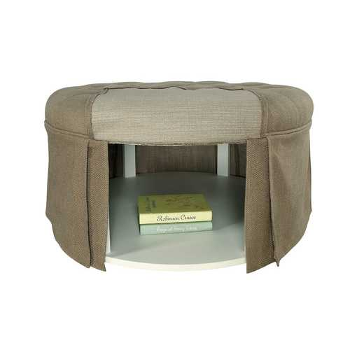 Button Tufted Fabric Upholstered Ottoman With Open Bottom Shelf, Brown