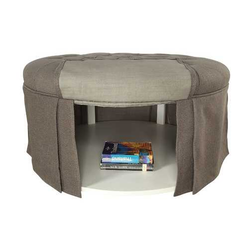 Button Tufted Fabric Upholstered Ottoman With Open Bottom Shelf, Gray