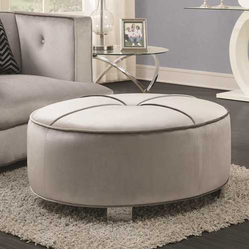 Contemporary Velvet Fabric & Metal Ottoman With Tufted Design, Gray