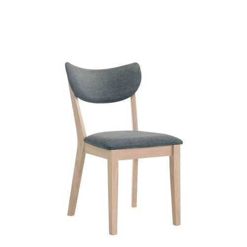 Wooden Fabric Upholstered Side Chair, Gray And Natural Brown, Pack Of Two