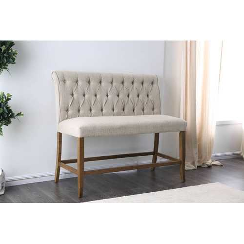 Wooden Fabric Upholstered Counter Height Bench, Ivory And Brown, Small