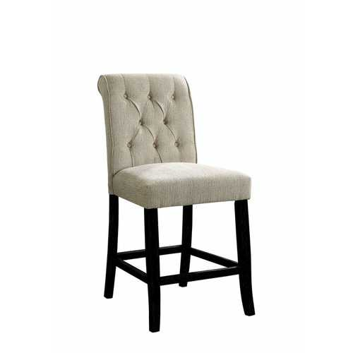 Wooden Fabric Upholstered Counter Height Chair, Ivory And Black, Pack Of Two