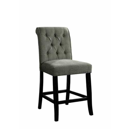 Wooden Fabric Upholstered Counter Height Chair, Gray And Black, Pack Of Two