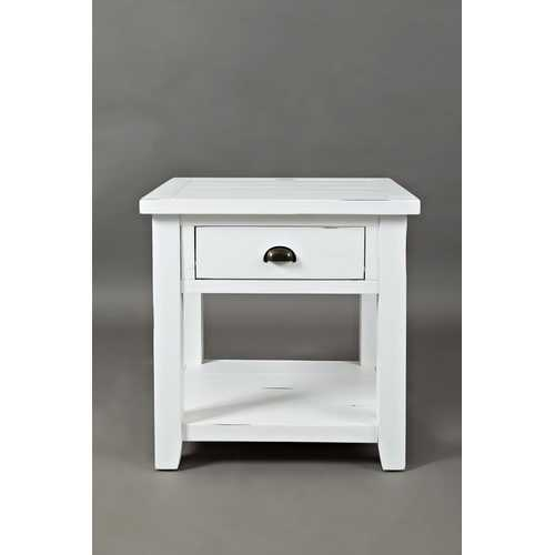 Wooden End Table With Open Shelf, Weathered White