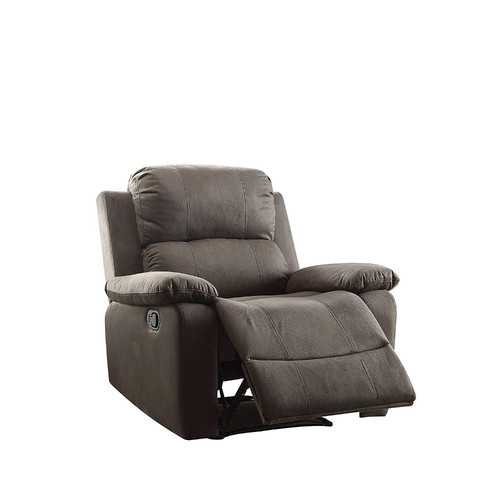 Contemporary Style Upholstered Recliner with Cushioned Armrests, Charcoal Gray