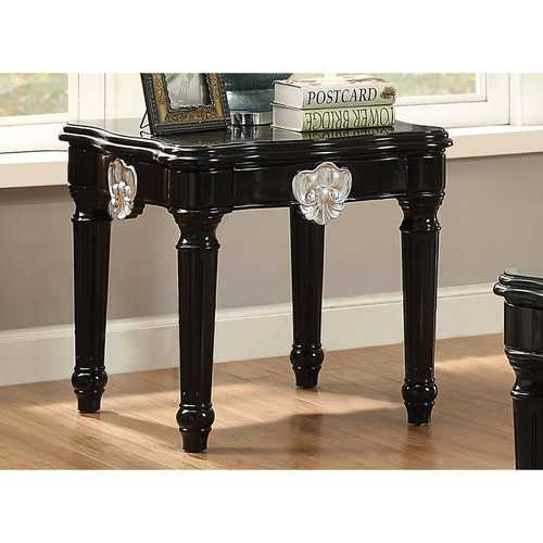 Wooden End Table With Contrast Carved Motif Turned Legs, Black