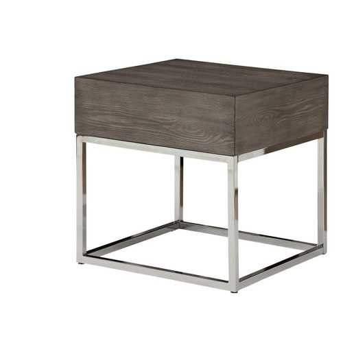 Wooden Square Top End Table With Metal Base, Brown And Silver