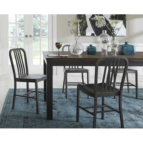 Wooden Rectangular Table with Gray Powder Coated Steel Base, Rustic Truffle Brown