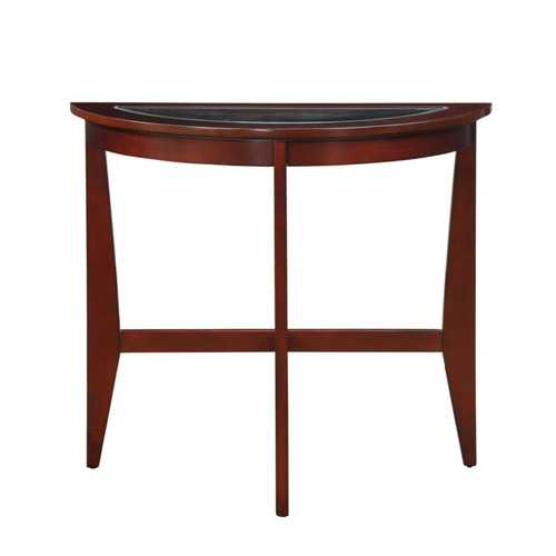 Wooden Half Moon Shaped Console Table with Beveled Tempered Glass Top, Espresso Brown and Clear