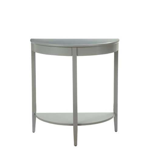 Wooden Half Moon Shaped Console Table with One Open Bottom Shelf, Gray