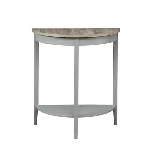 Wooden Half Moon Shaped Console Table with One Open Bottom Shelf, Oak Brown and Gray