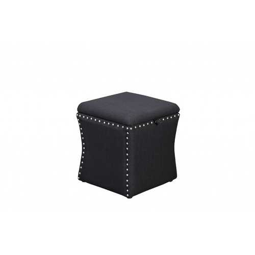 Fabric Upholstered Lift Top Storage Wooden Ottoman with Nail head Decorative Base, Black