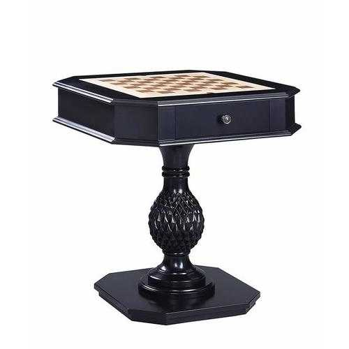 Wooden Game Table with Drawer and Reversible Game Tray, Black