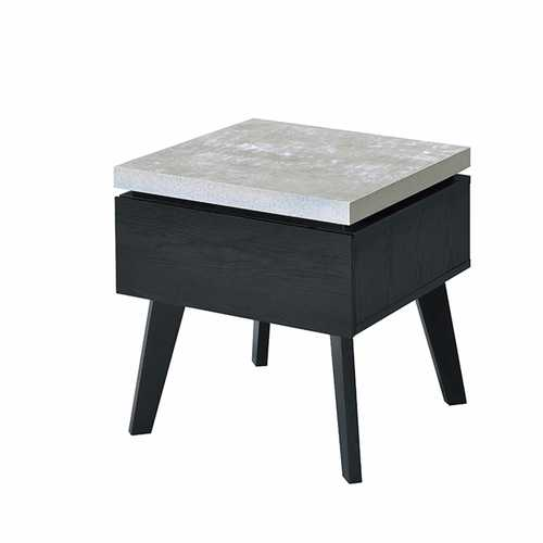 Wooden End Table with Faux Concrete Like Top and Tapered Legs Support, White and Black