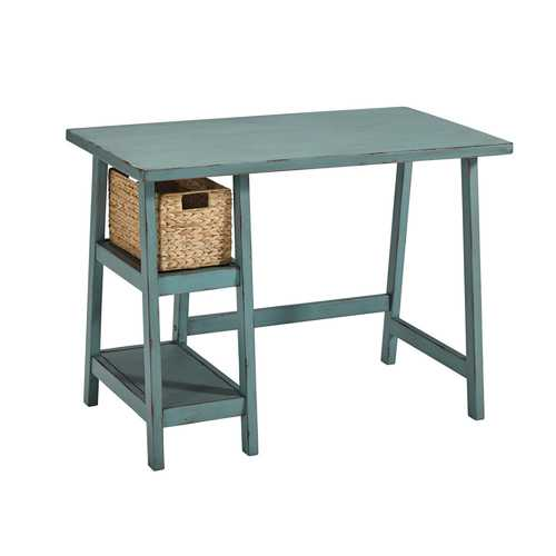 Distressed Wooden Desk with Two Display Shelves and Trestle Base, Small, Teal Blue