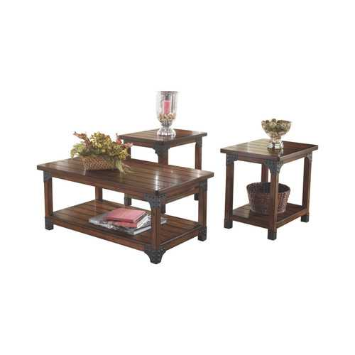 Wooden Table Set with Lower Shelf and Metal Brackets, Set of Three, Brown and Gray