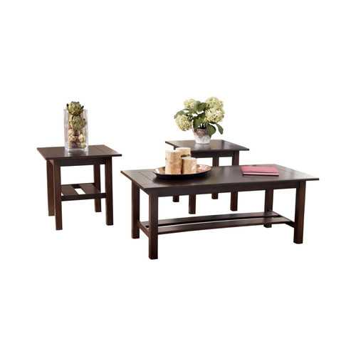 Wooden Table Set with Slat Style Base, Set of Three, Dark Brown