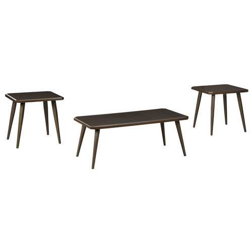 Wooden Table Set with Beveled Edges and Tapered Bottom, Set of Three, Dark Brown