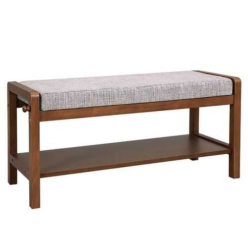 Wooden Bench with Fabric Padded Cushion Seat and Bottom Shelf, Brown and Gray