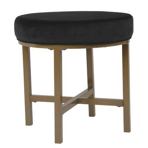 Round Shape Metal Framed Ottoman with Velvet Upholstered Seat, Black and Brown