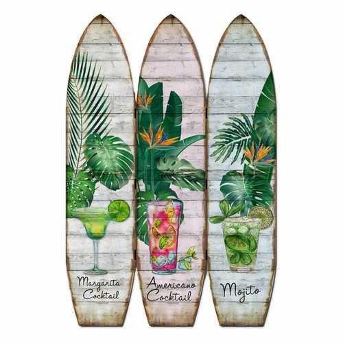 "47"" x 1"" x 71"" Multicolor Wood Surfboard  Screen"
