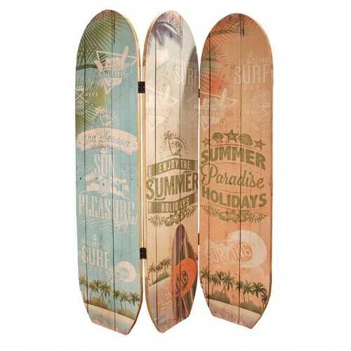"47"" x 1"" x 71"" Multicolor Wood Surfboard Summer  Screen"